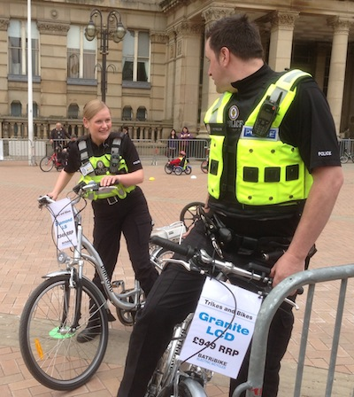 Police ride electric bikes