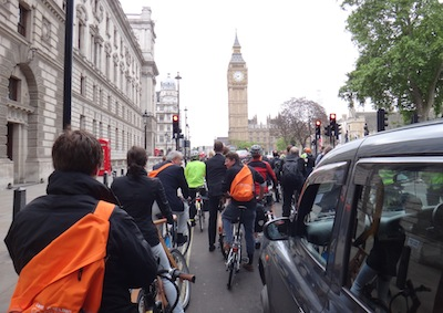 Cycling towards Westminster