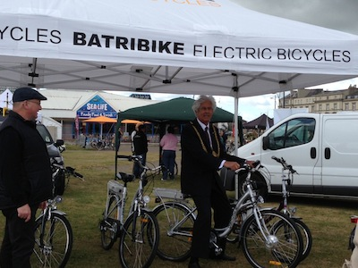 The Mayor of Great Yarmouth on an electric bike