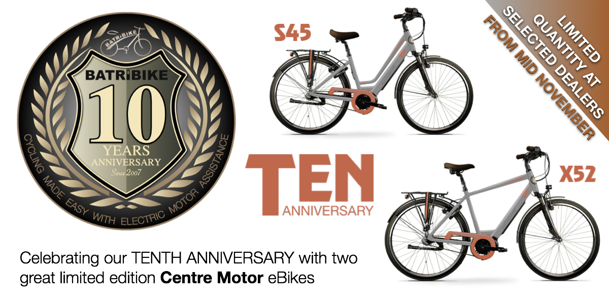 Celebrating the 10th Anniversary of BATRIBIKE with two great limited edition Centre Motor eBikes